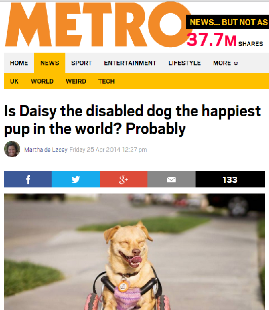 Metro UK names @underbiteunite one of the happiest pup in the world despite her disabilities.