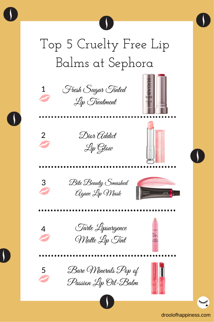 Top 5 Cruelty Free Tinted Lip Balm Roundup you can purchase at Sephora