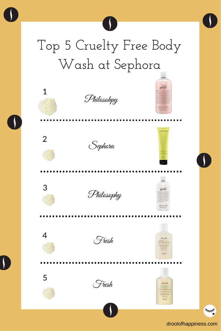 Top 5 cruelty free body wash you can purchase at Sephora and other high end stores