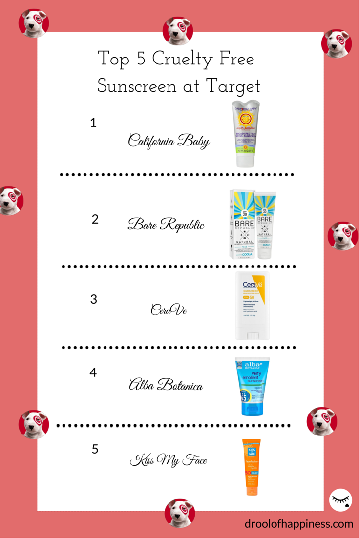 Top 5 cruelty free sunscreen you can purchase at Target and other drugstores