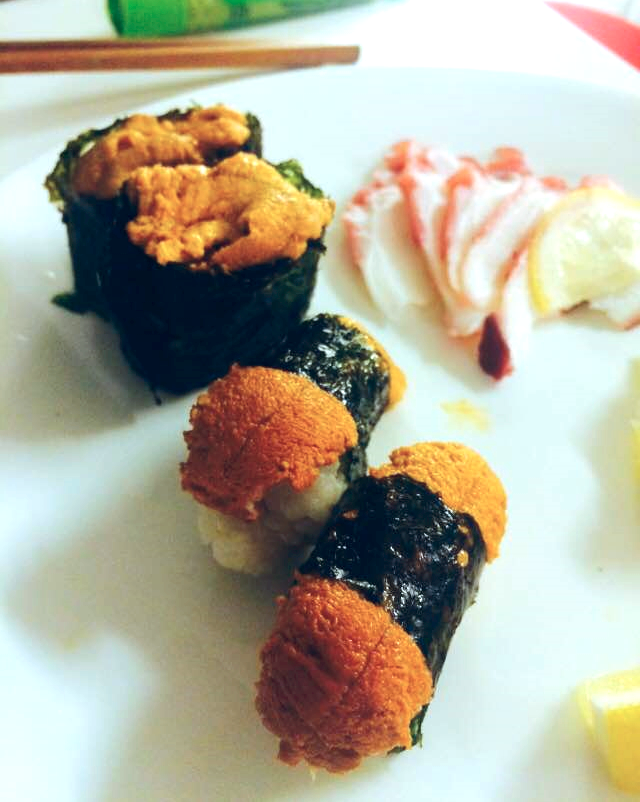 Uni sushi two ways... good and gooder