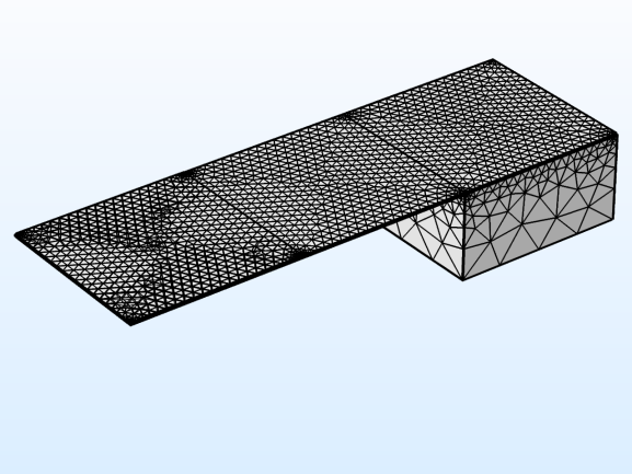 Figure 2. A dense automatically generated mesh results in a single element in the vertical direction of the PZT.