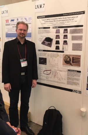 Henrik Staaf presented Chalmers' work on Toward CMOS compatible wafer-scale fabrication of carbon-based microsupercapacitors for IOT.