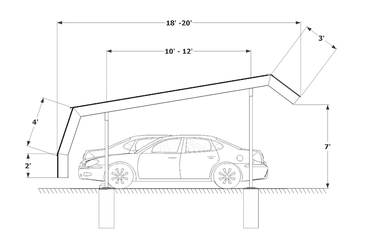 Carport Double Mansard X sketch
