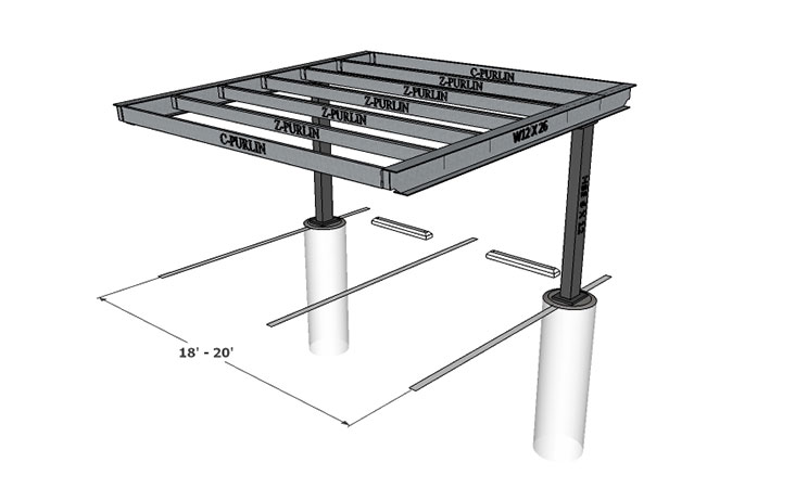 2 Car Metal Carport Flat : Single column flat — carport structures corp