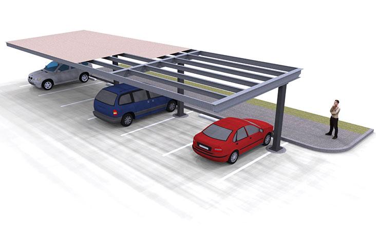 Carports Single Column Flat Rendering