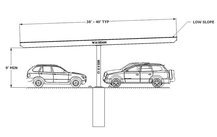Carport Single Column Flat sketch