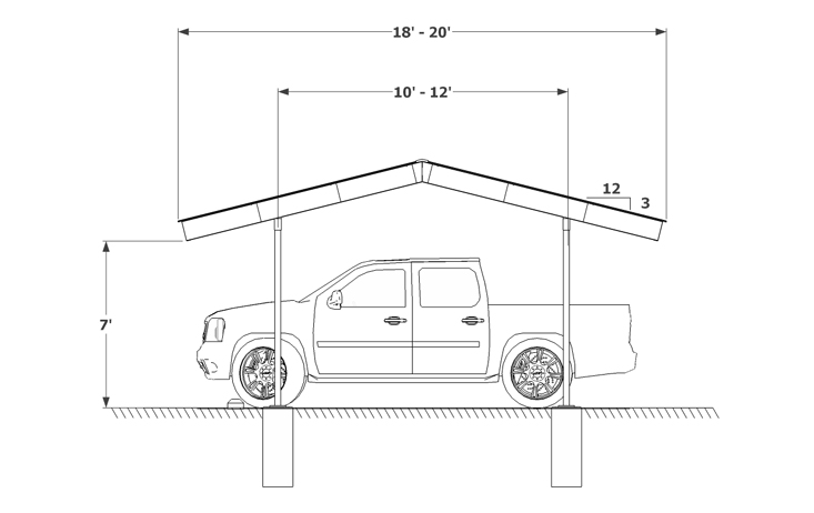 Carport Even Gable Sketch
