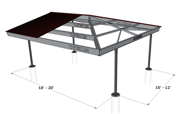 Even gable hip end carport structures corp for Gable roof carport