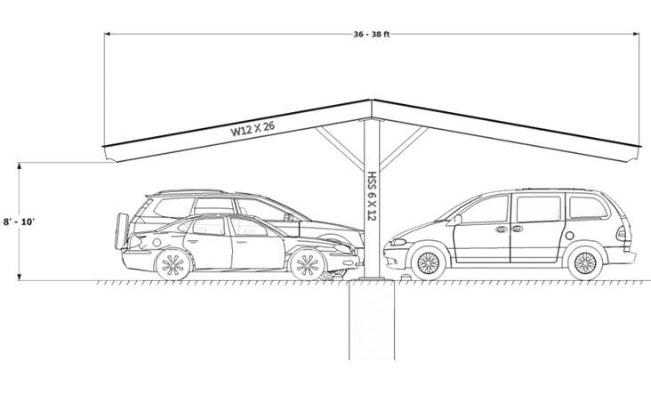 Carport Single Column double gable Sketch