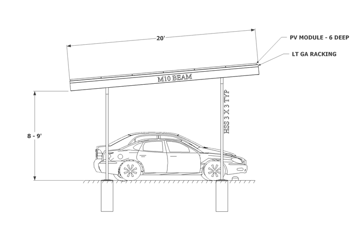 Solar Carport sketch two column