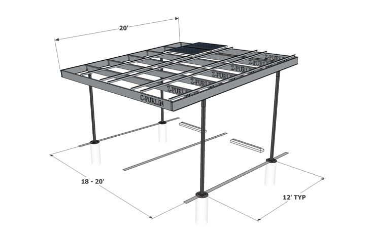 Solar Two Column Single — Carport Structures Corp.