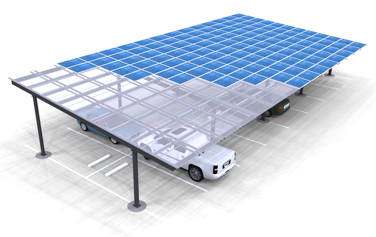 Solar Carport Render Two Column Double