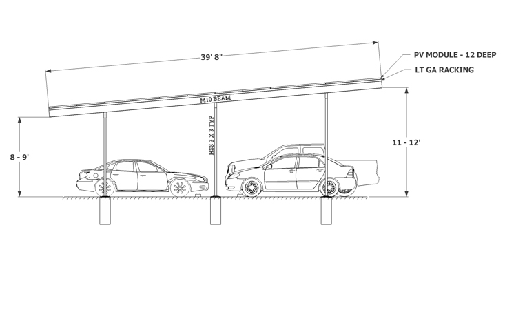 Solar Carport sketch three column