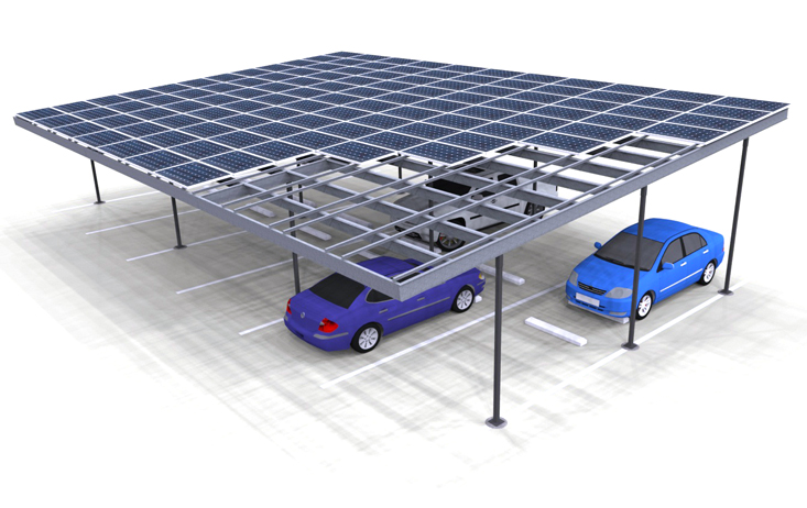 Solar Carport Render Three Column