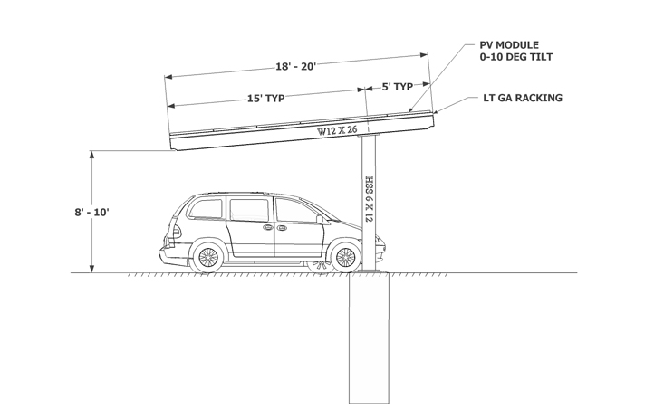 Solar Carport sketch Single Column