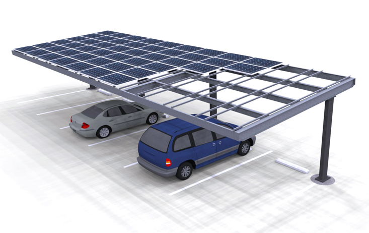 Solar Single Column Single Carport Structures Corp
