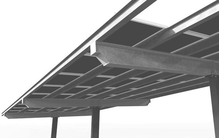 Solar Carport Single Column Render