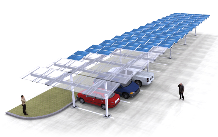 Solar Carport Louvered Single Render