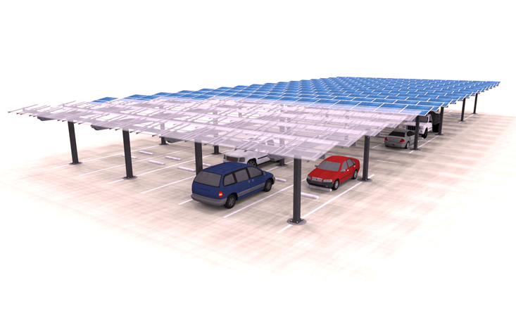 Solar Carport Louvered Multi Lane Render
