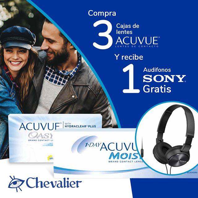 ¿Estás preparado para nuestra Súper Promoción?  Compra 3 cajas de lentes de contacto #Acuvue (oasys/moist) y recibe 1 gratis más audífonos #SONY. ¿Qué esperas?  Visítanos en cualquiera de nuestras sucursales. #opticaschevalier #chevalier #panama #pty #promocion
