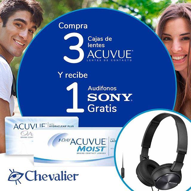 ¿Aún no estás enterado de nuestra promoción?  Compra 3 cajas de lentes de contacto #Acuvue (oasys/moist) y recibe 1 caja gratis más audífonos SONY . No te la pierdas, visítanos en cualquiera de nuestras  sucursales .  #sony #opticaschevalier #aros