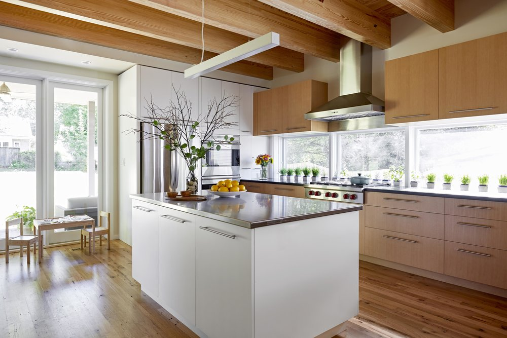Modern Kitchen with Exposed Beams