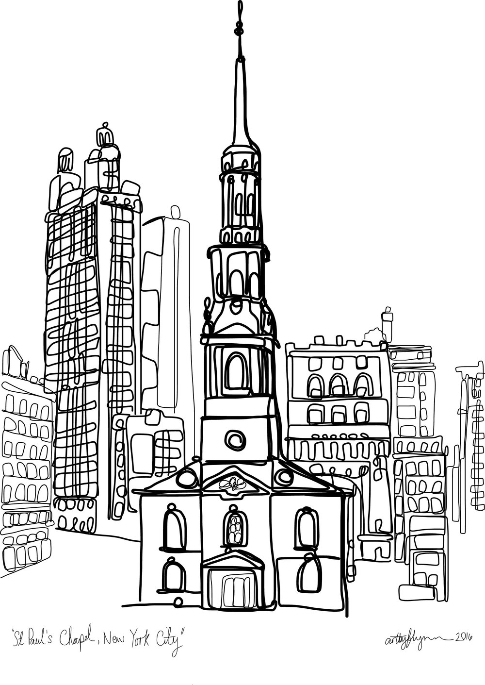 My doodle of the chapel based on a photo taken in 1937