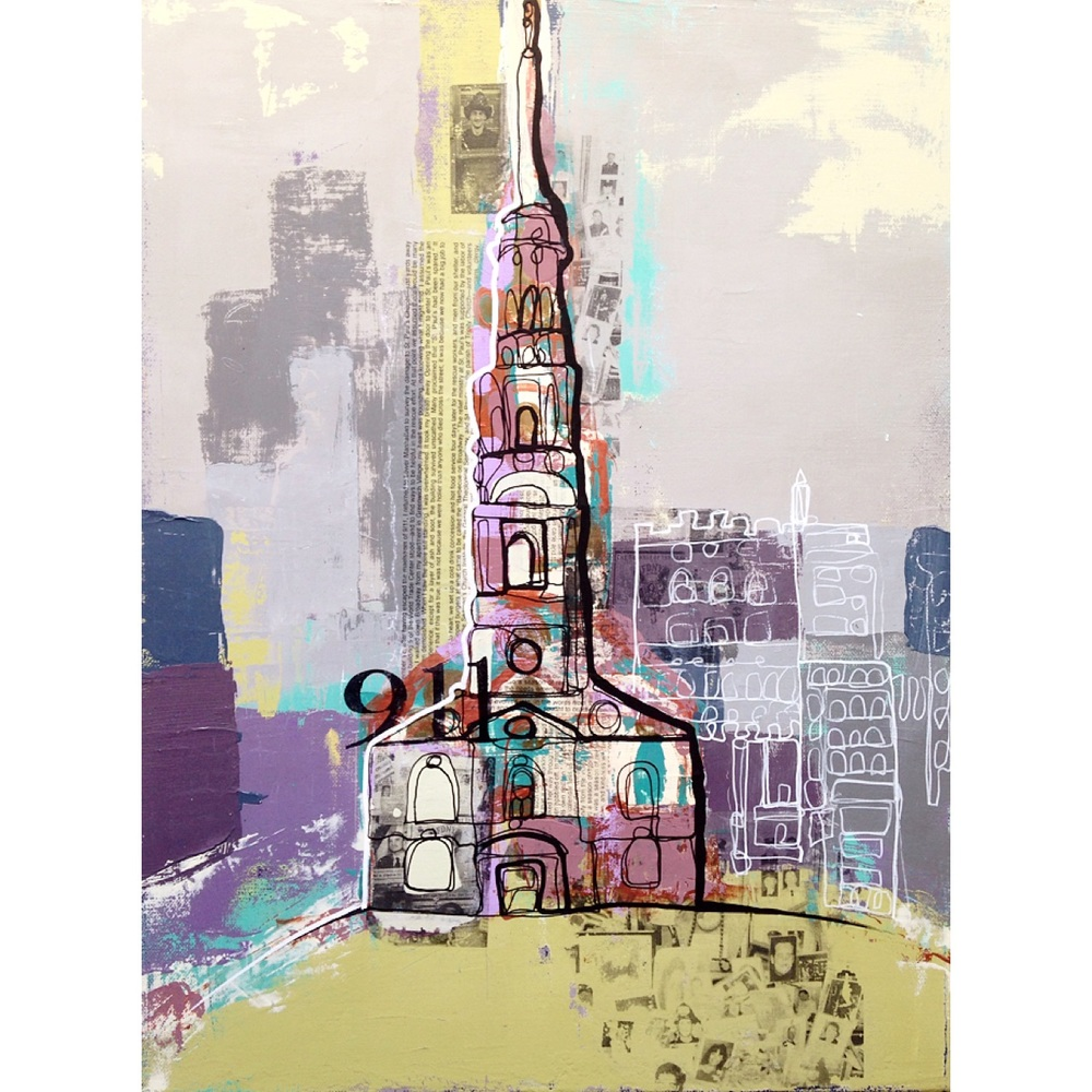 """""""A New York Story"""" acrylic on canvas with paint and gel medium image transfer. (12x16)"""