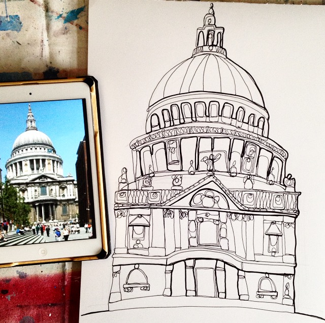 My A3 pen doodle of St Paul's Cathedral, London