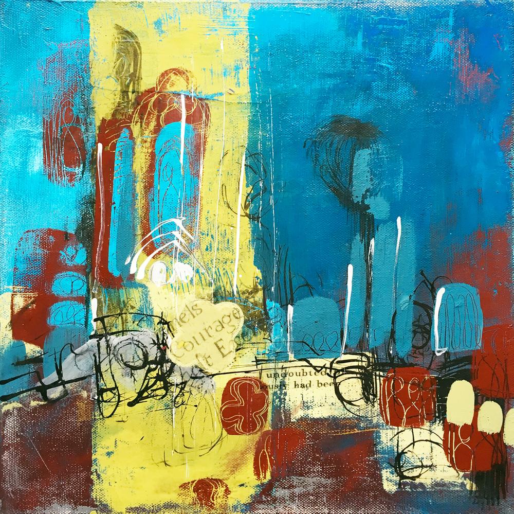 Acrylic and mixed media on canvas 12x12