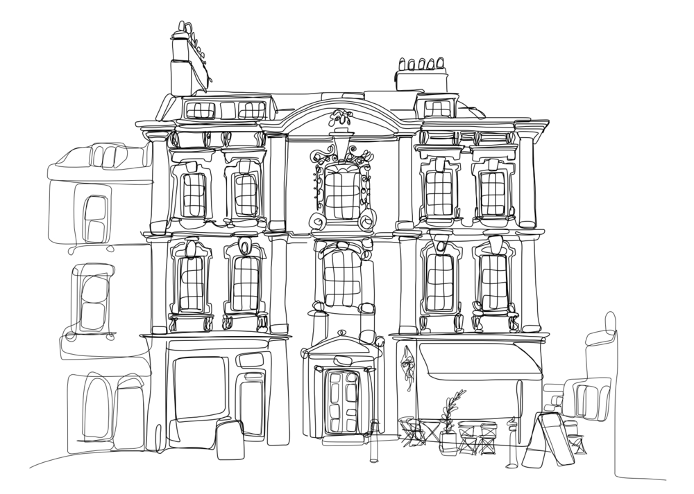 Doodle of a Rosewell house & cafe on Kingsmead Square in Bath