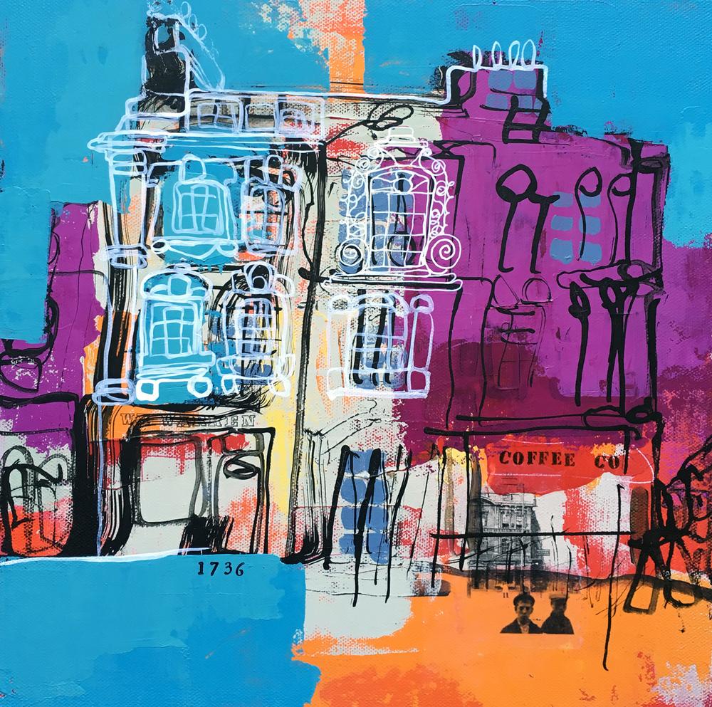 ROSE WELL house, bath (acrylic paint & ink on canvas 12x12)