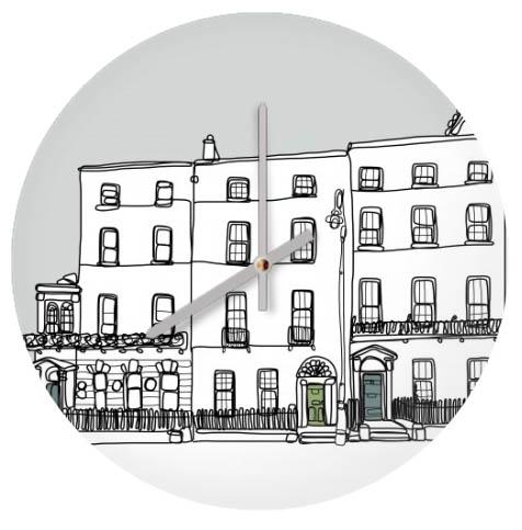 Dublin MERrion Square doodle glass clock £27
