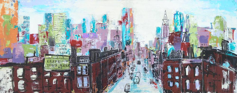 New York City Skyline (acrylic and ink on canvas 12x30)
