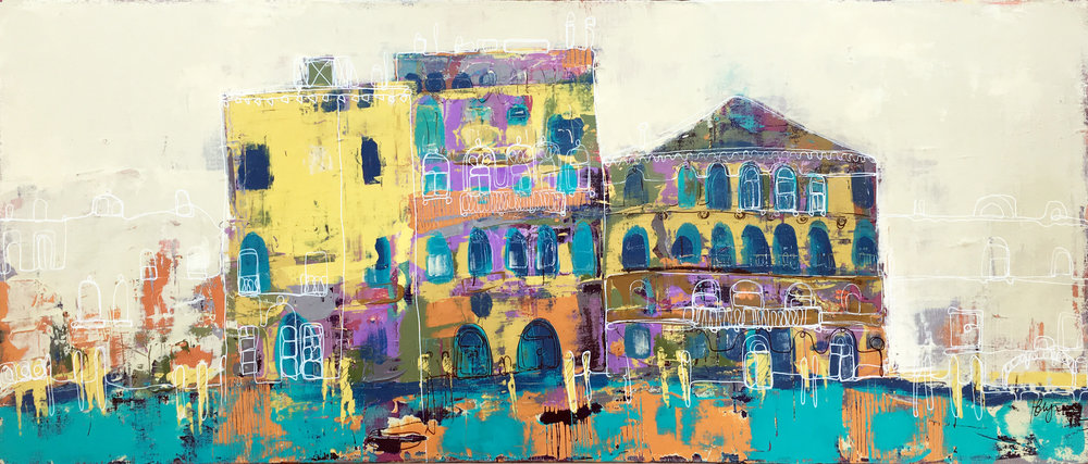 Grand Canal venice (acrylic and ink on canvas 12x30)