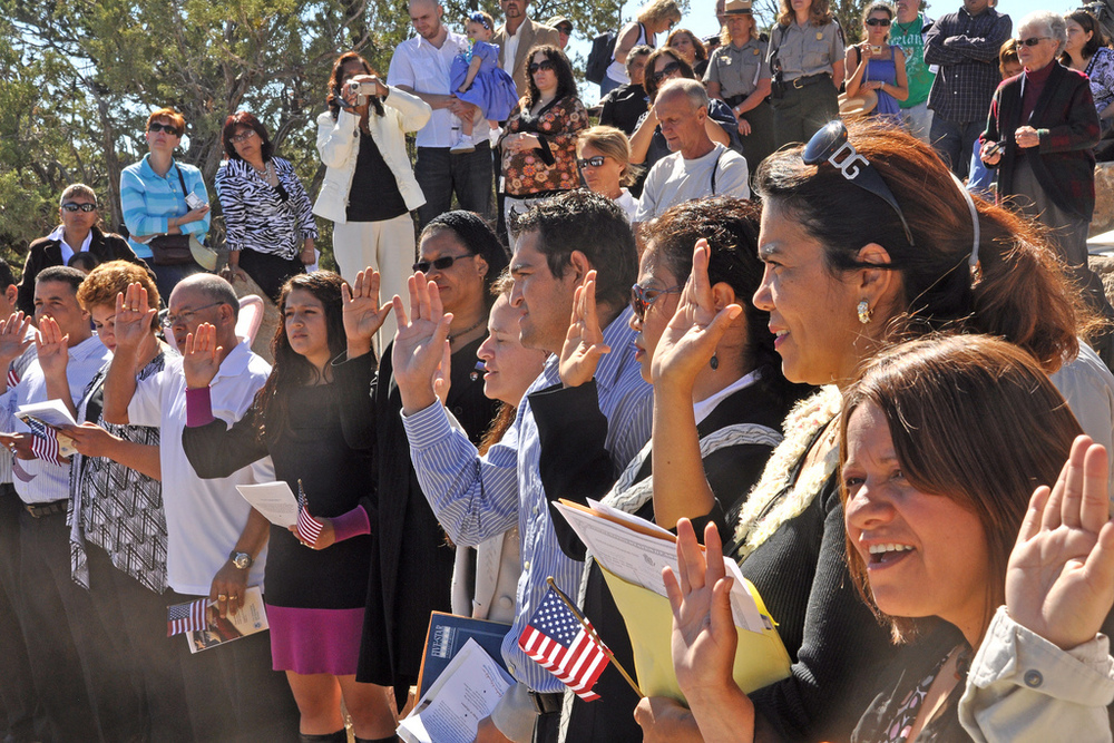 Grand Canyon National Park hosts a naturalization ceremony with 23 individuals from 12 countries becoming U.S. citizens. NPS Photo by Michael Quinn