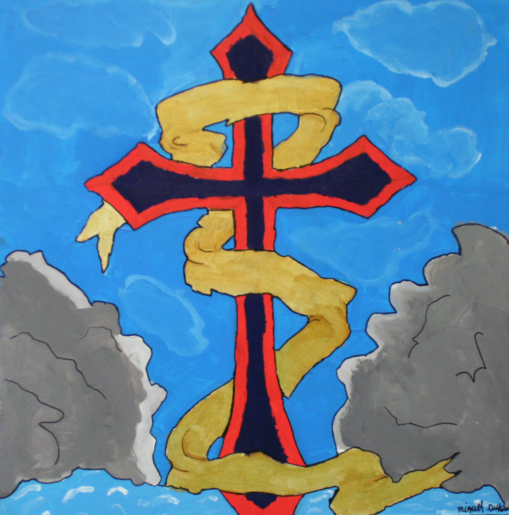 "MD made his VERY FIRST painting of a cross floating above two mountains to represent his devotion to his faith.  This image does not do justice to his piece!  When you look at it in person you can see how he experimented with shading and texture.     Between Two Mountains/Acrylic on Masonite/24""x24""/2015"
