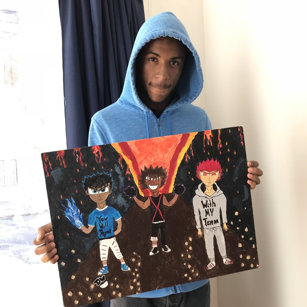 Da'Shawn, 18, youth artist of Baltimore Youth Arts holding his painting  White Gold