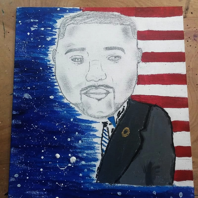 This is a painting of my late father when he was in the military. I made this to show that I appreciate his service to this country.