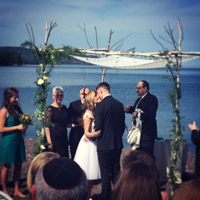 Rabbi Shavit-Lonstein Celebrating with new couple