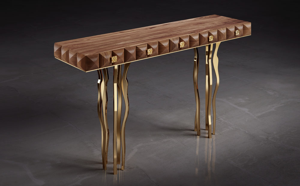 Il Pezzo 10 Console - solid walnut and brass casting