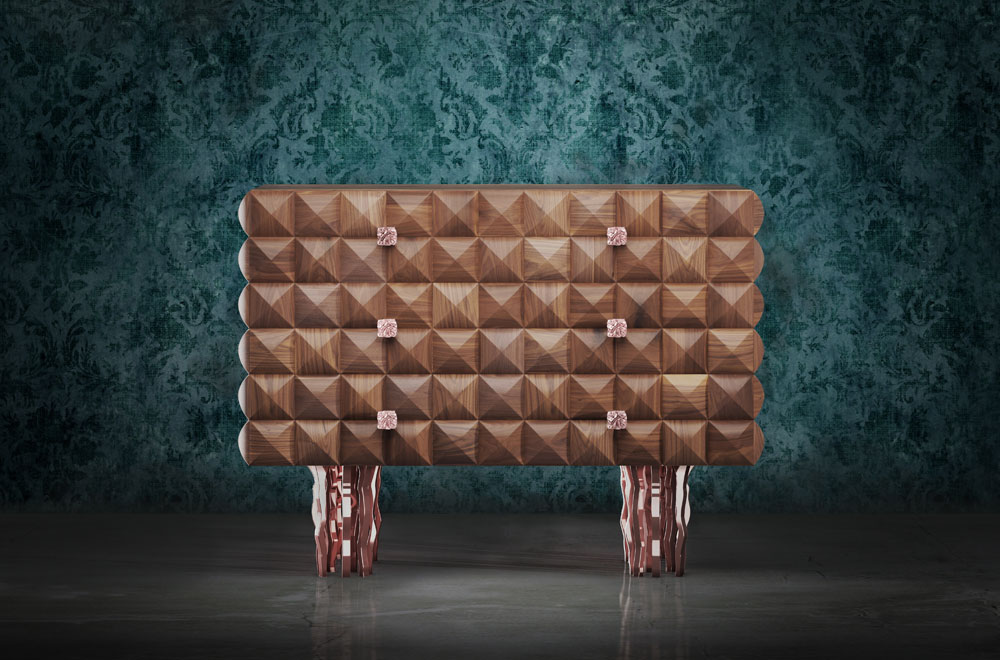 Il Pezzo 10 Dresser - solid walnut and rose bronze plated brass casting