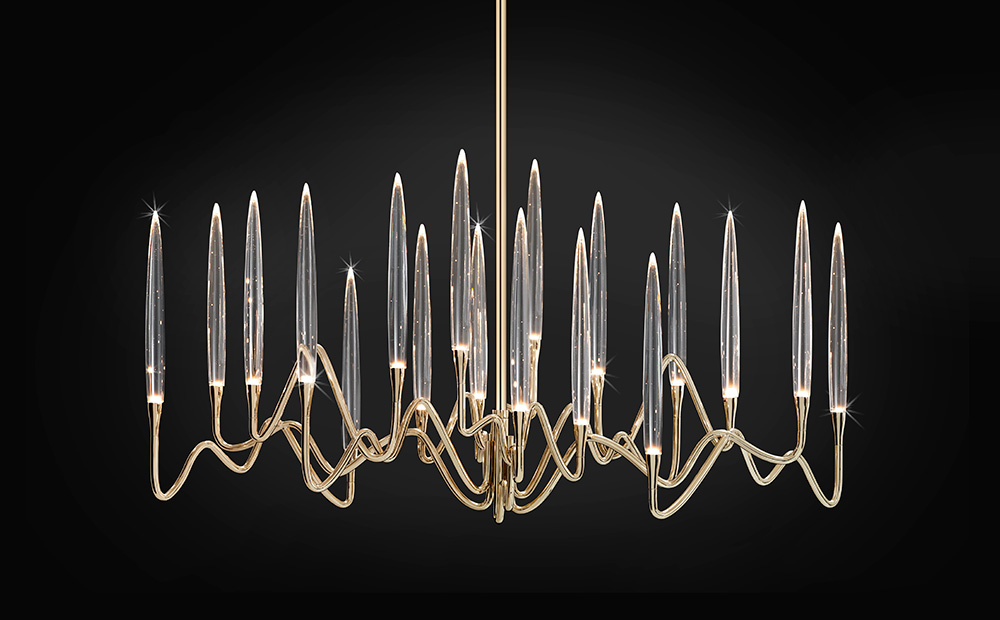 "Il Pezzo 3 Long Chandelier - 103 cm/40.5"" - gold finish"