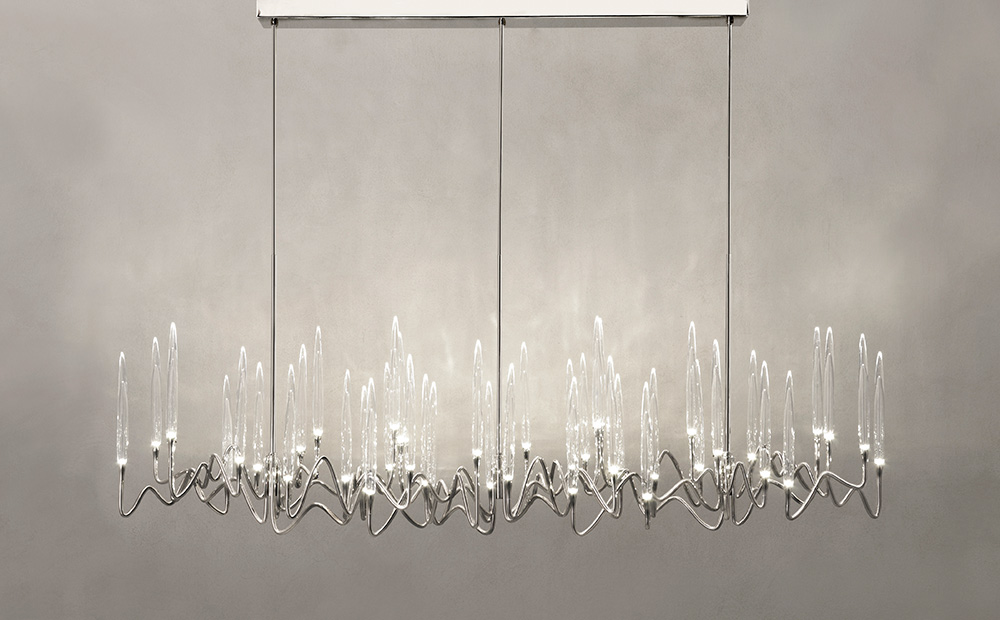 "Il Pezzo 3 Long Chandelier - 200 cm/78.7"" - nickel finish"