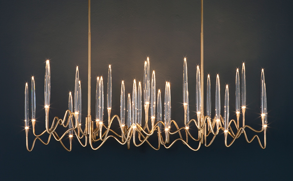 "Il Pezzo 3 Long Chandelier - 150 cm/59"" - satin brass finish"