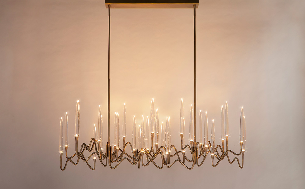 "Il Pezzo 3 Long Chandelier - 150 cm/59"" - light bronze finish"