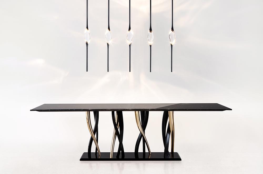 Il Pezzo 8 Marble Table black and gold by Il Pezzo mancante