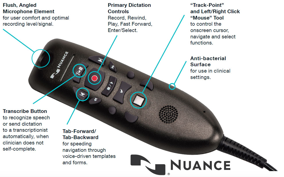 The Nuance PowerMic III, which is offered in parallel with the PowerMic II, boasts many of the same great features but is redesigned for a more modern user experience