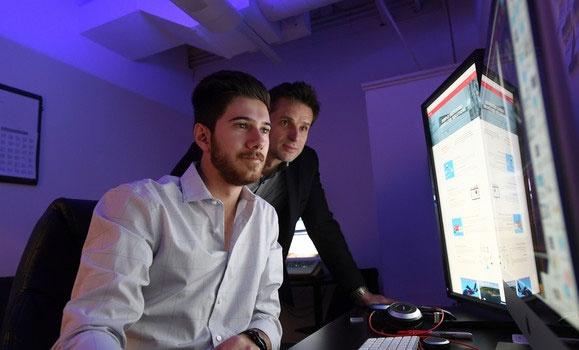 Bachelor of Commerce co-op student Matthew Cohen and his supervisor, Tomek Obirek, CMO of Dragon Medical. (Daniel Abriel photos)